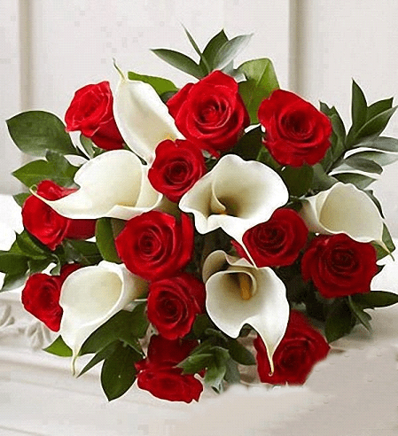 Ramo De Regalo 011 Con 12 Rosas Y 6 Alcatraz Floreria Laura